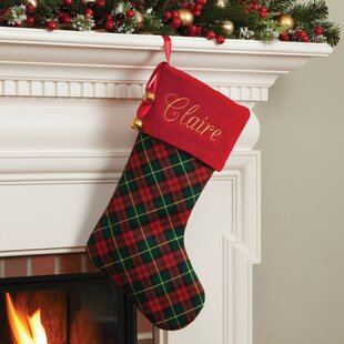 plaid personalized stocking