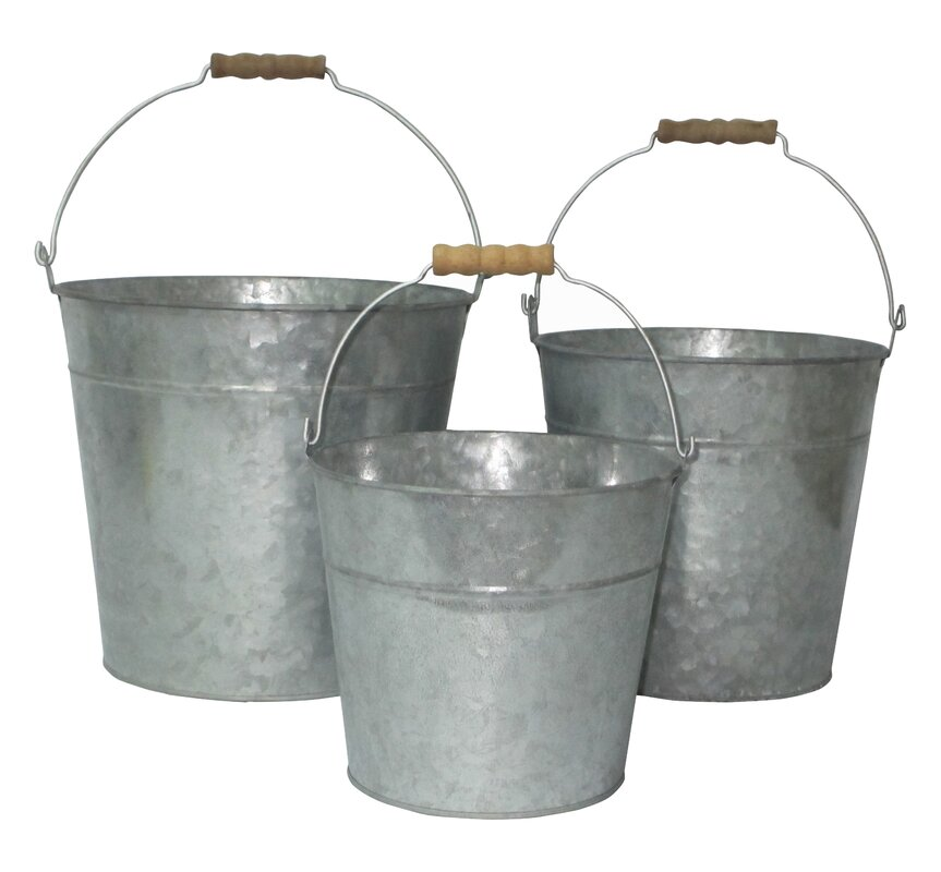 3 Piece Galvanized Bucket Set