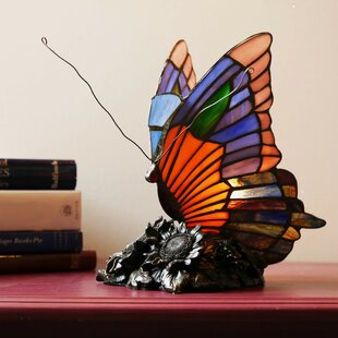 Top Brands of Crase Butterfly Tiffany Style Stained Glass 9 Table Lamp By Fleur De Lis Living