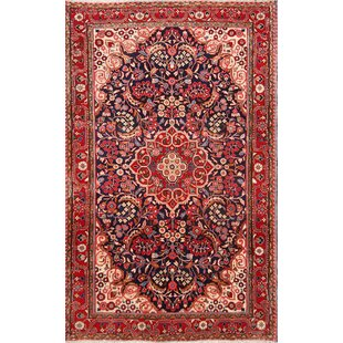 One-of-a-Kind Peregrine Sarouk Persian Hand-Knotted 4'3 x 6'9 Wool Red/Blue Area Rug ByIsabelline