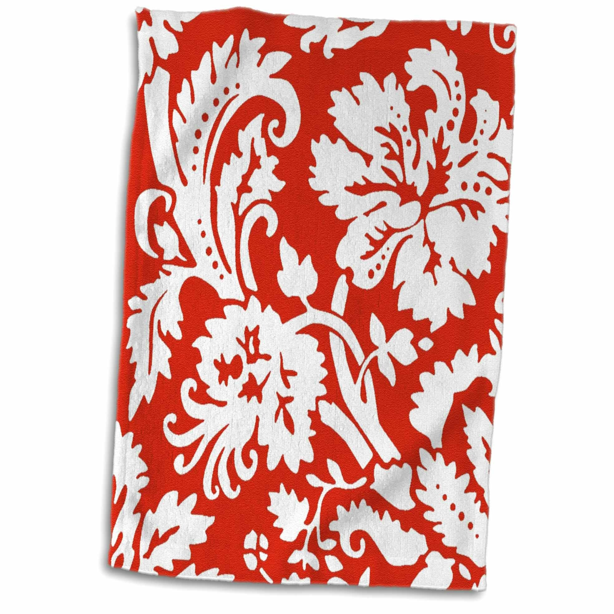 Symple Stuff Kearse Bold Damask Patternstylish Modern Trendy Bright Swirls Hawaiian Swirly Floral Hand Towel Wayfair