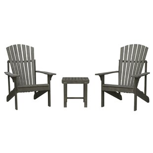 Densmore Patio Wood 3 Piece Conversation Set