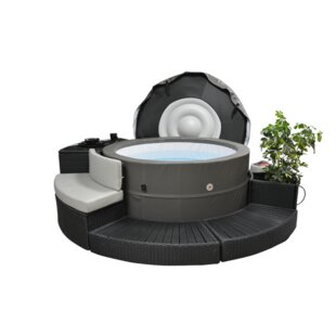 Canadian Spa Co Swift Current V2 5-Person 125-Jet Plug and Play Spa with Surround Furniture Package