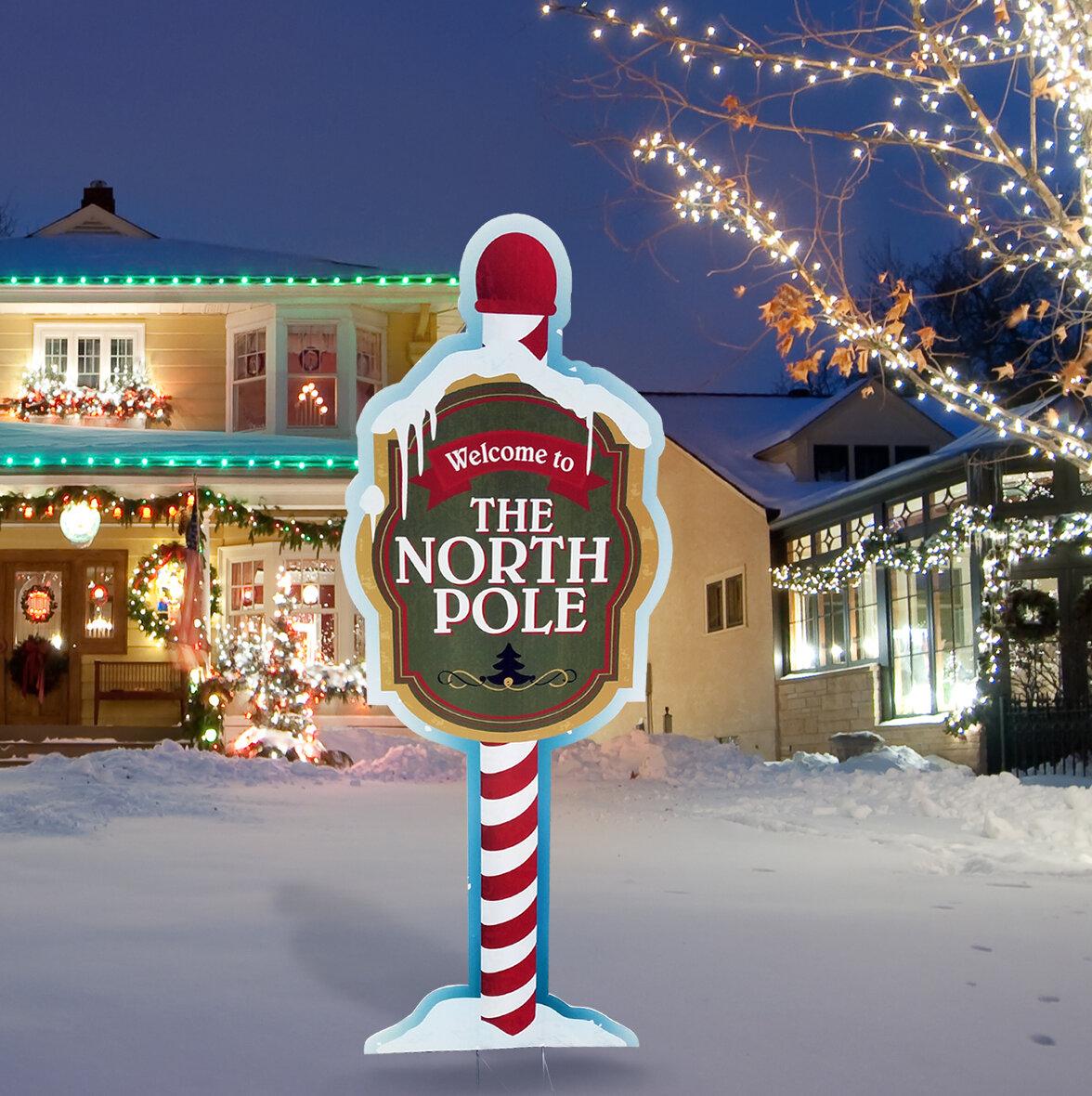The Holiday Aisle North Pole Yard Sign & Reviews | Wayfair
