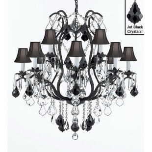 Clemence 12-Light Shaded Chandelier by Rosdorf Park