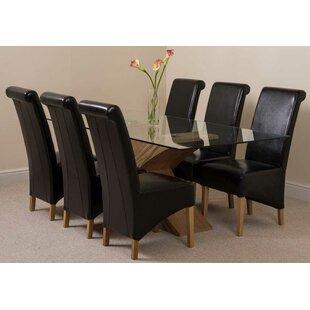 Ediz Oak Glass Dining Set With 6 Chairs By Ebern Designs