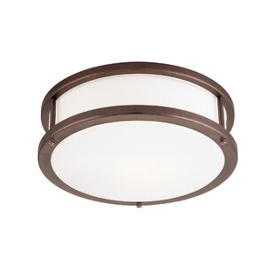Reviews Tatom 2-Light Outdoor Flush Mount By Latitude Run