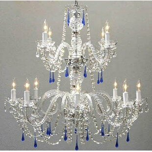 Kaler Swarovski 12-Light Candle Style Chandelier by House of Hampton
