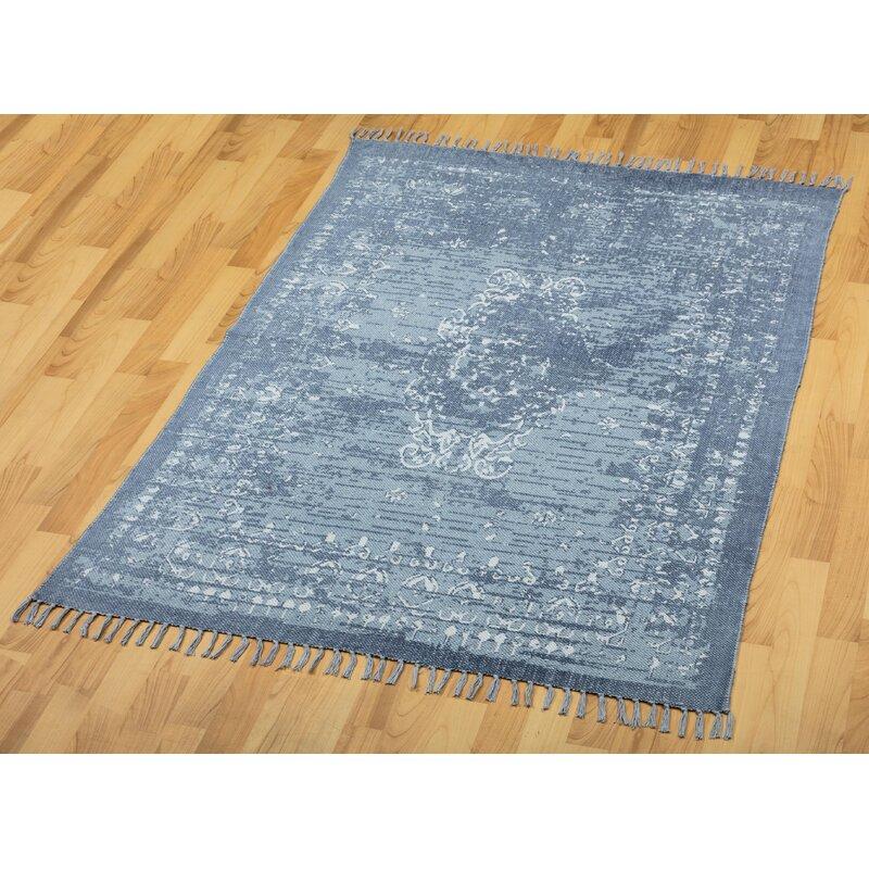 Handmade Dhurrie Cotton Blue Area Rug