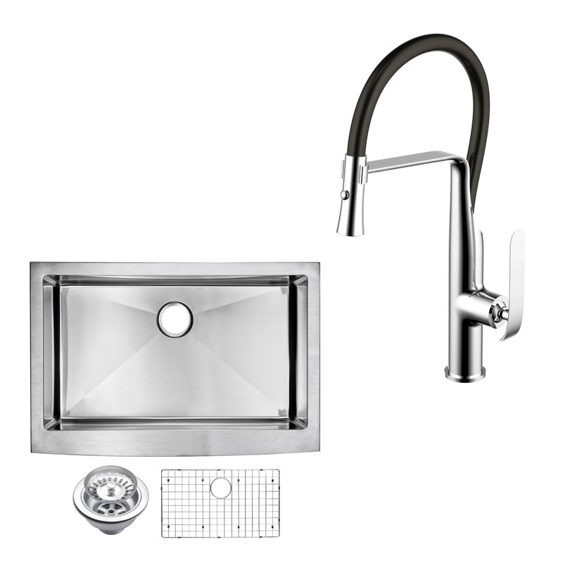 all in one front stainless steel 30   x 22   apron kitchen sink dcor design all in one front stainless steel 30   x 22   apron      rh   wayfair com