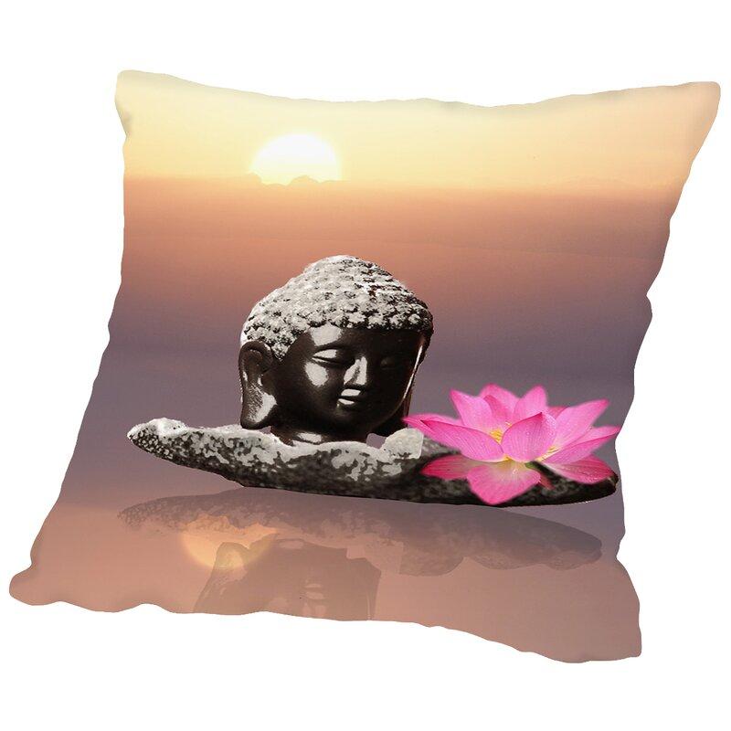 East Urban Home Buddha Lotus Flower Throw Pillow Wayfair