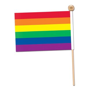 Rainbow Polyester 4x6 Rectangle Flag (Set Of 12) by The Beistle Company
