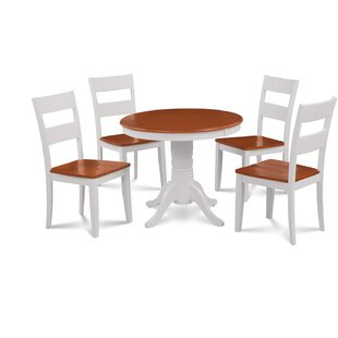 Cedarville 5 Piece Carved Solid Wood Dining Set by Alcott Hill Savings