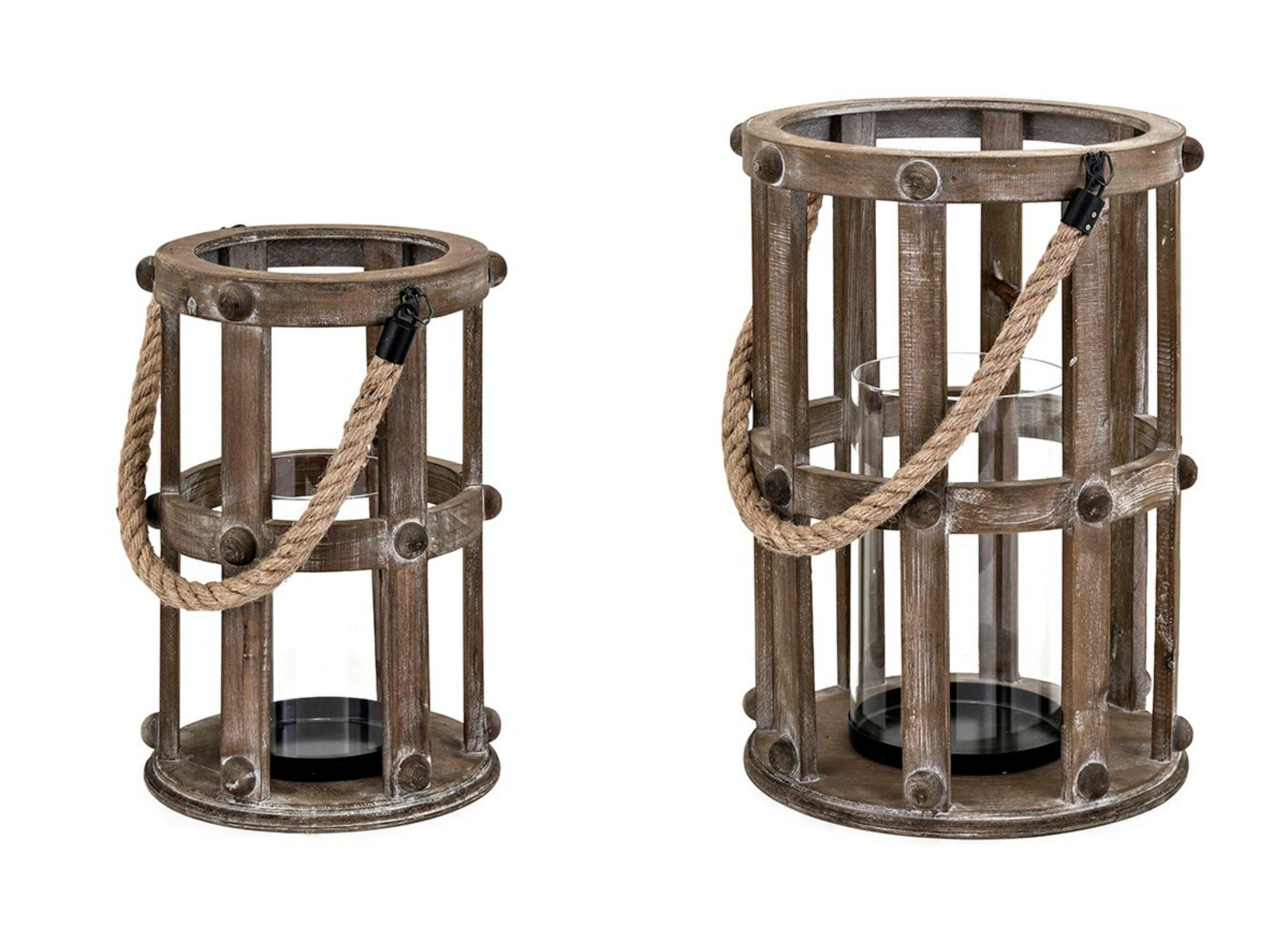 Breakwater Bay 2 Piece Wood Lantern Set