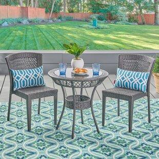 Ebern Designs Ducote Outdoor 3 Piece Wicker Bistro Set