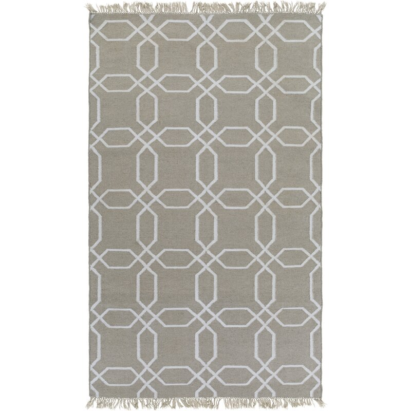Charlton Home Larksville Geometric Handwoven Gray Cream Area Rug Wayfair