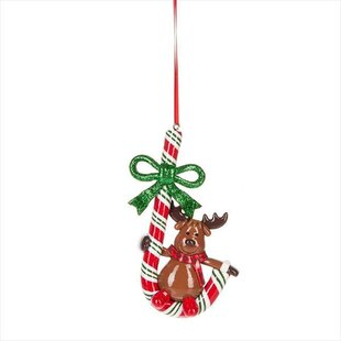 reindeer on candy cane christmas ornament - Christmas Candy Cane Decorations
