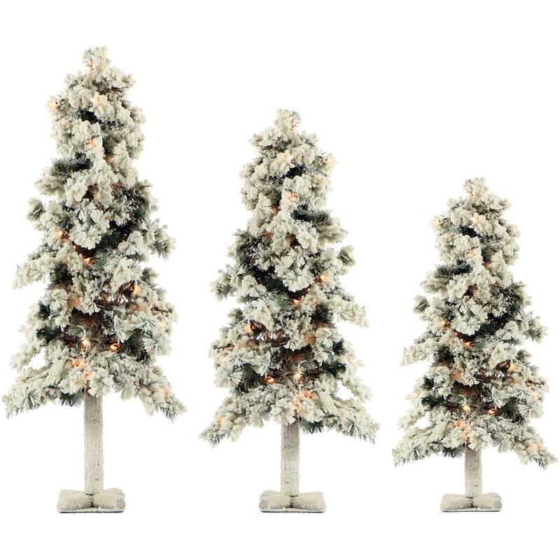 snowy alpine 3 piece evergreen pine artificial christmas tree set with 185 clear lights - 3 Christmas Tree