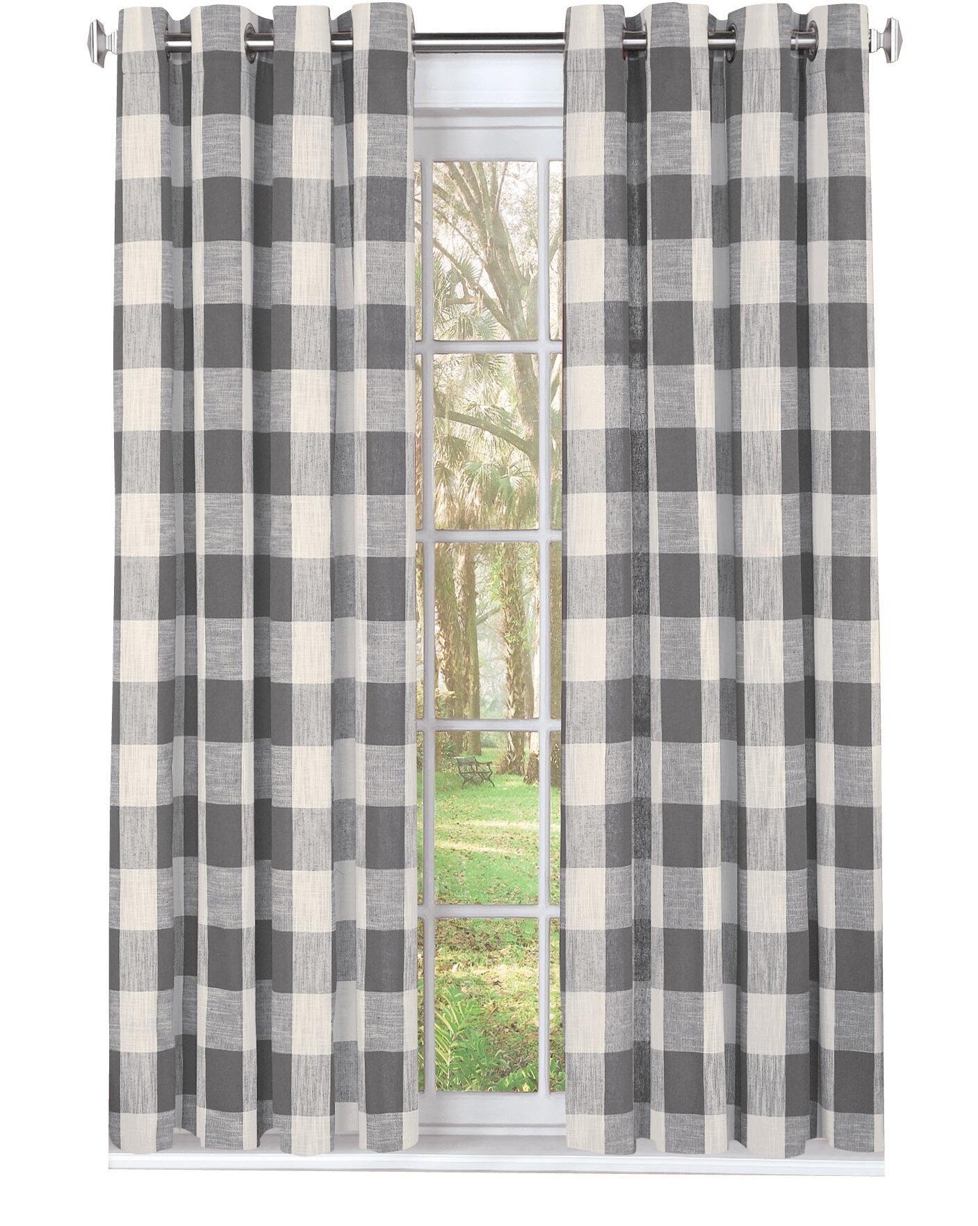 Checkered Room Darkening Grommet Single Curtain Panel Joss Main