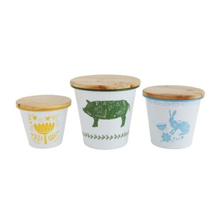 Enameled Tin 3 Piece Kitchen Canister Set by Gracie Oaks
