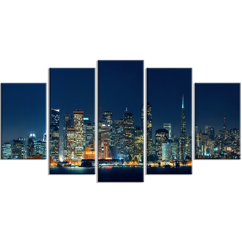 U0027San Francisco Skyline At Nightu0027 5 Piece Wall Art On Wrapped Canvas Set. U0027