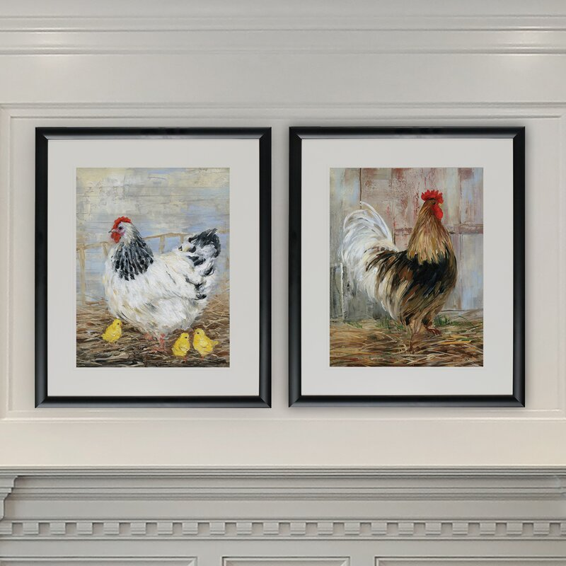 August Grove Farmhouse Rooster 2 Piece Framed Graphic Art Print