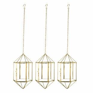 Geometric Glass Hanging Candle Metal Lantern Set (Set of 3) by Wrought Studio