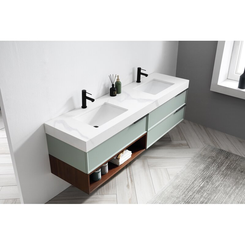 Kartonrepublic Marfa 72 Wall Mounted Double Bathroom Vanity Set Wayfair