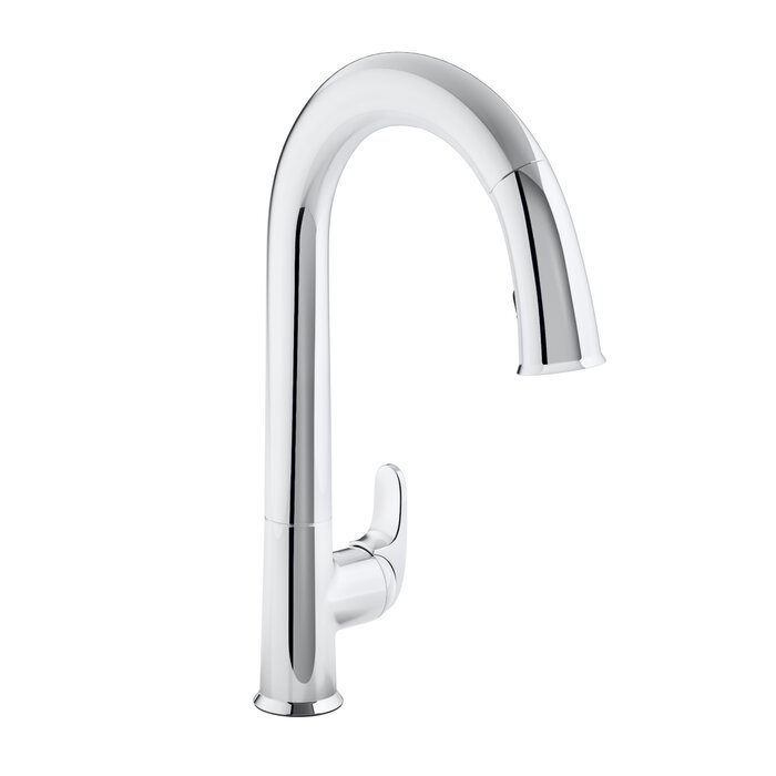 pull plated finish spout lead spray swivel chrome everflow out construction high free to dp easy operate hose side kitchen faucets faucet arc with