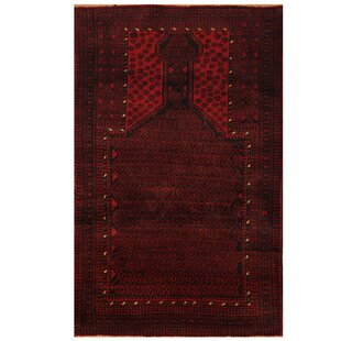 One-of-a-Kind Ebron Hand-Knotted 2'7 x 4'8 Wool Red/Black Area Rug By Bloomsbury Market