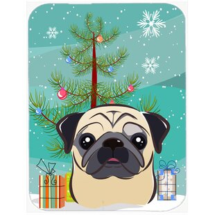 Under the Christmas Tree and Pug Glass Cutting Board By Caroline's Treasures