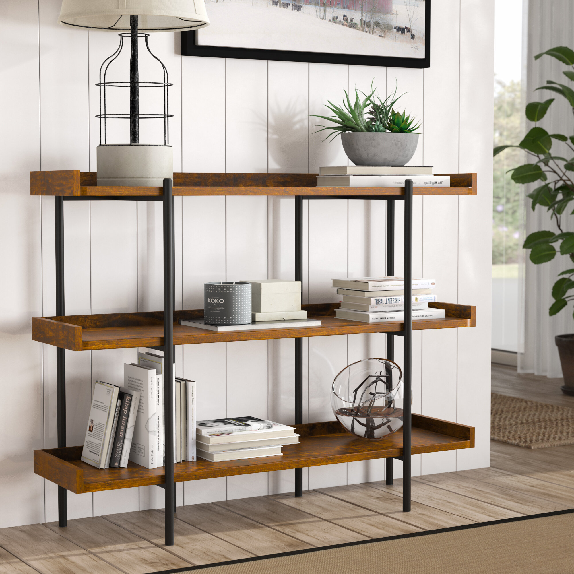 Gracie Oaks Calona Modern Etagere Bookcase Amp Reviews Wayfair