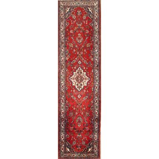 One-of-a-Kind Kujawa Floral Palace Malayer Hamadan Persian Hand-Knotted Runner 3'10 x 14'5 Wool Red/Beige/Black Area Rug Isabelline