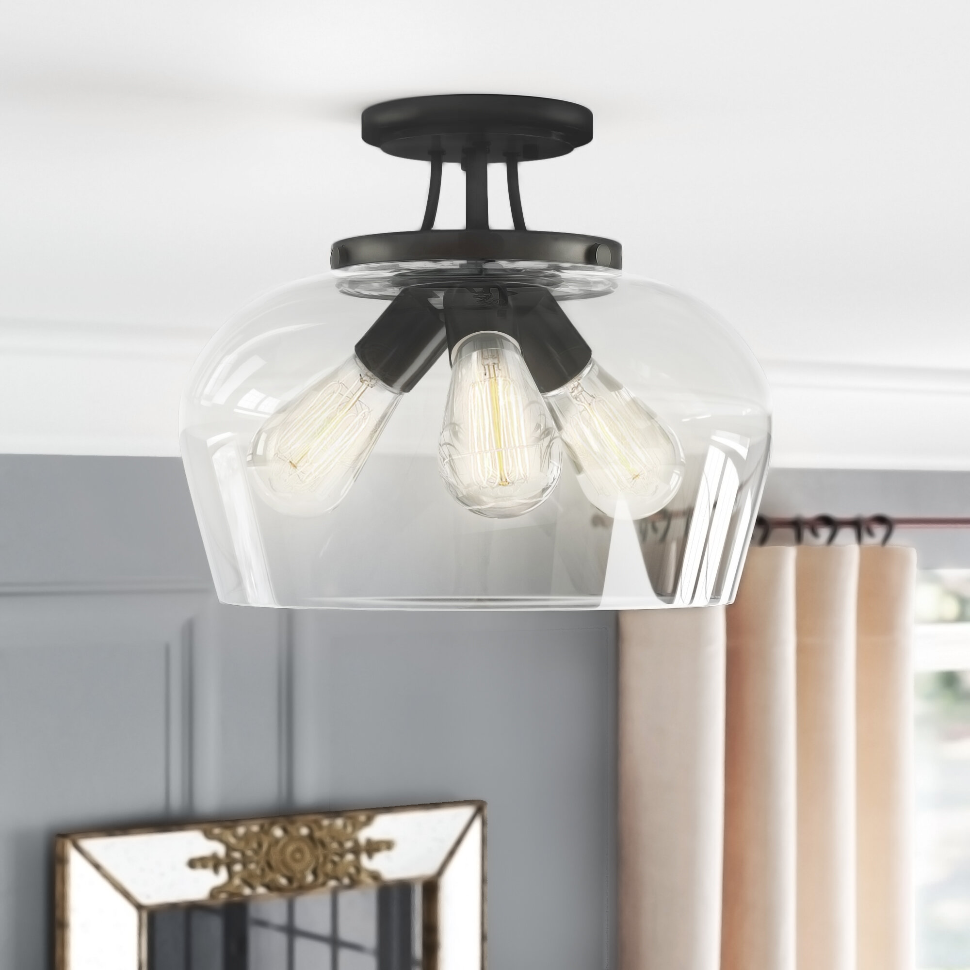 Leeds 3 Light Semi Flush Mount