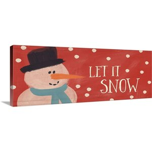 Christmas Art 'Let It Snow' by Linda Woods Painting Print on Wrapped Canvas