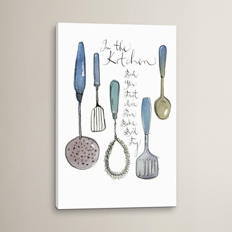 kitchen utensils art. Kitchen Utensils Graphic Art On Wrapped Canvas