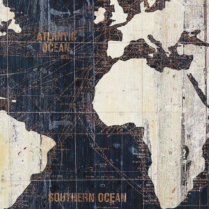 Mercury Row Old World Map Blue Piece Graphic Art Print Set On - Old world map