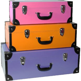 3 Piece Leather Stacking Storage Trunk Set by Asian Loft