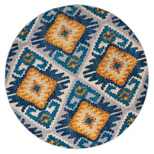 Dietz Midnight Blue/Yellow Area Rug by Bungalow Rose