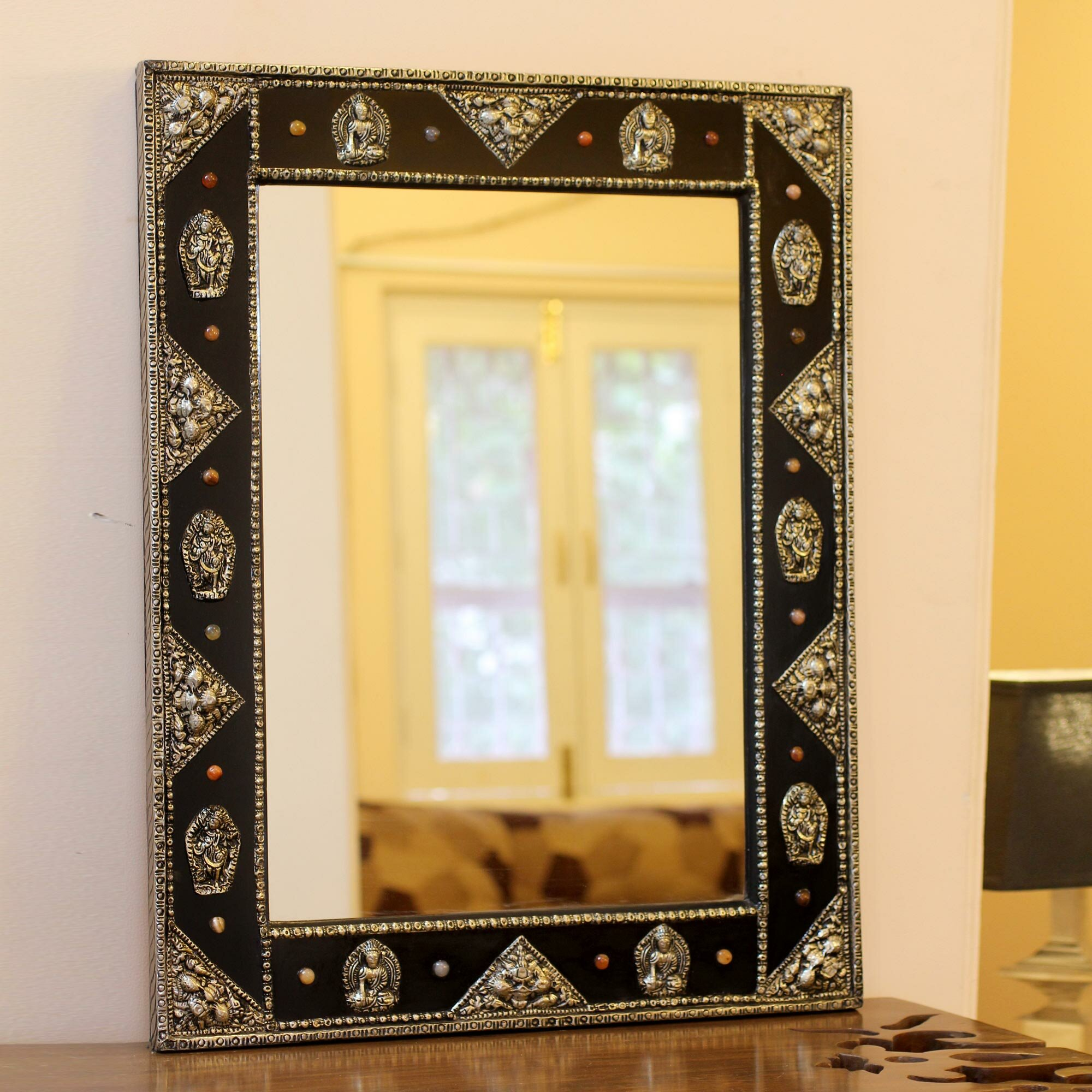 Novica Tranquility Hand crafted Brass on Wood Wall Mirror | Wayfair