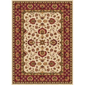 Ethnic Cream/Red Area Rug