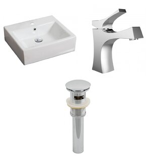 Inexpensive Ceramic Rectangular Vessel Bathroom Sink with Faucet and Overflow ByAmerican Imaginations