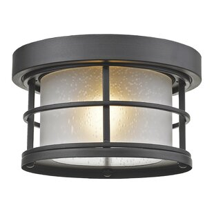 Reviews Crothers 1-Light Outdoor Flush Mount By Breakwater Bay