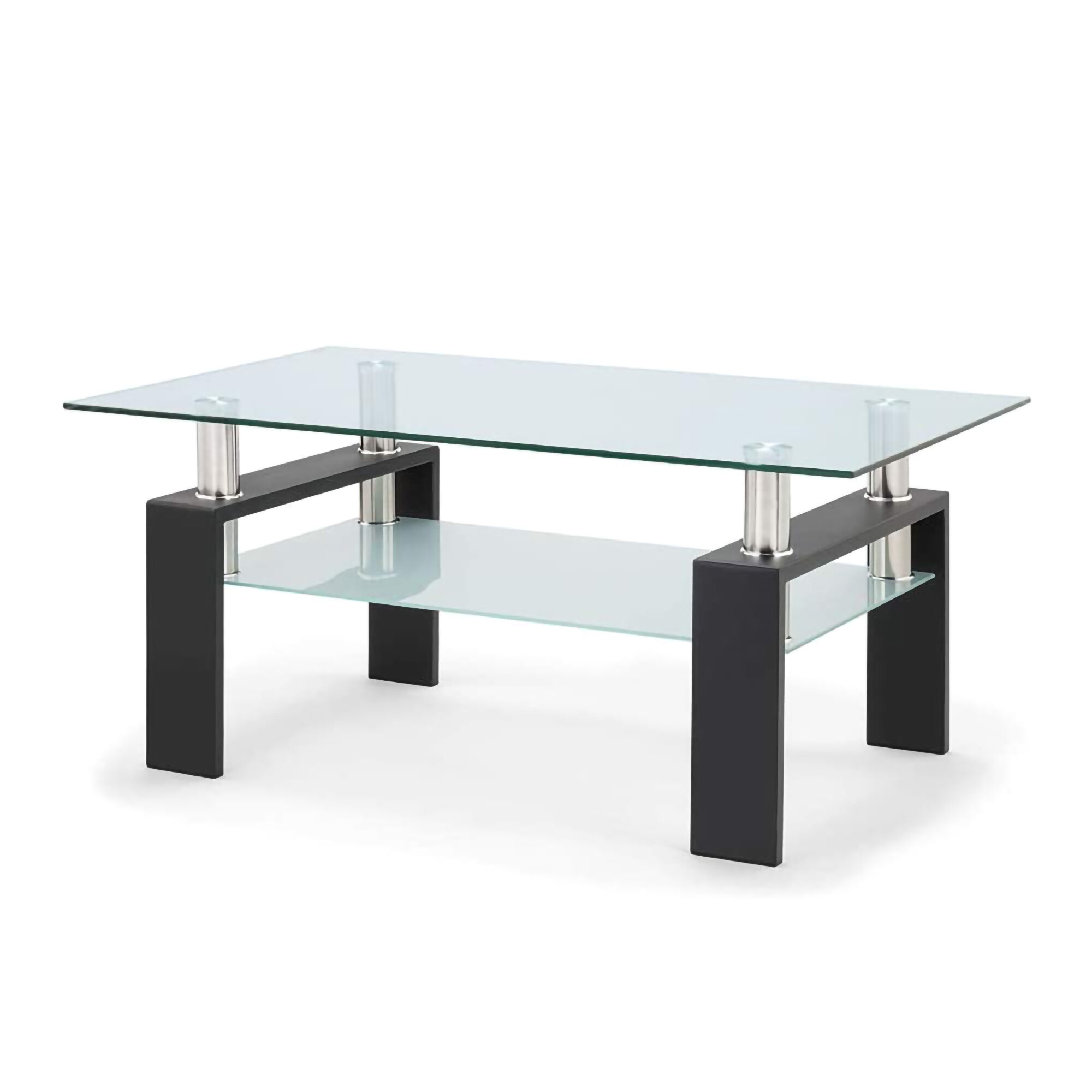 Picture of: Orren Ellis Modern Style 2 Tier Tempered Glass Coffee Table With Storage Shelf And Sturdy Metal Legs Side Table For Living Room Office