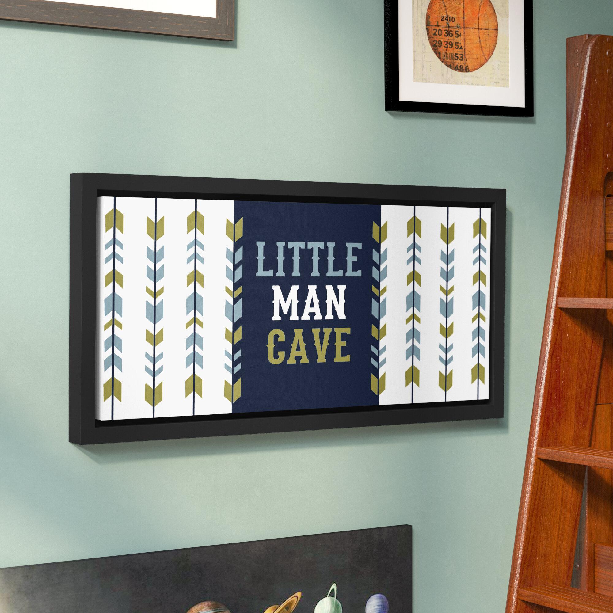 Little Man Cave Arrow Black Nursery Print Kids Bed Room Boys Wall Art Picture