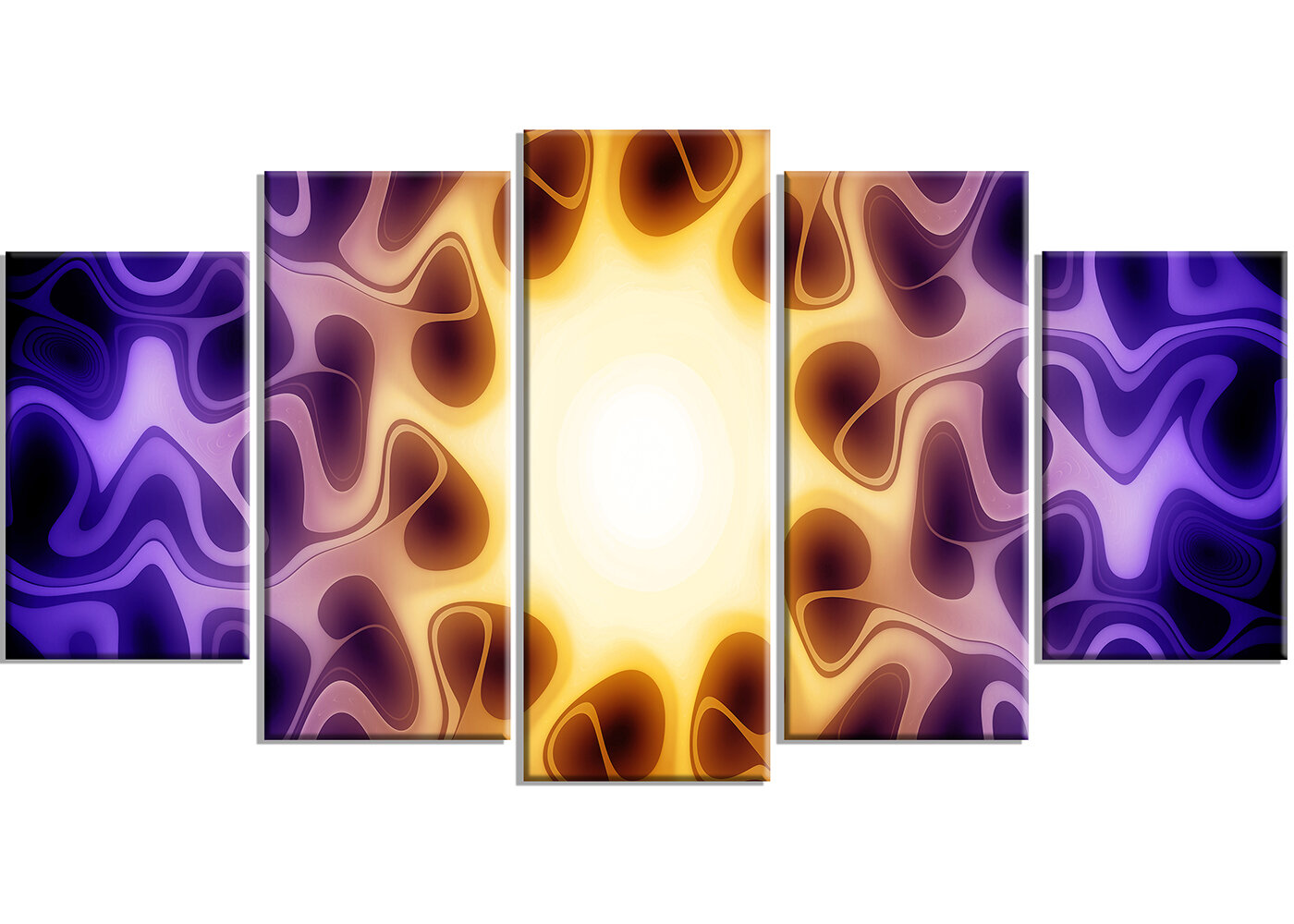 Designart Purple Sunburst 5 Piece Graphic Art On Wrapped Canvas Set Wayfair