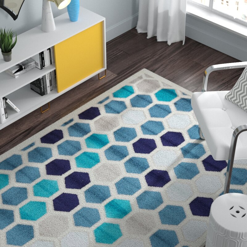 Ebern Designs Santos Blue Area Rug