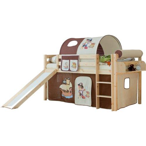 Hochbett Manuel mit Vorhang  90 x 200 cm | Kinderzimmer > Kinderbetten > Hochbetten | Natur | Baumwolle - Massivholz - Lackiert - Holz | TICAA