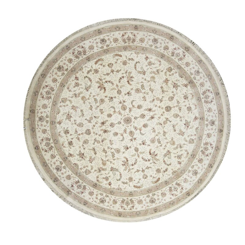 Bokara Rug Co Inc Round Floral Hand Knotted Wool Silk Ivory Red Gray Area Rug Wayfair