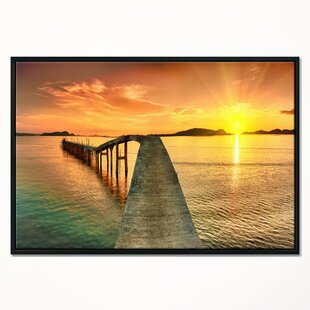 8aed593796f Sunset over Pier Panorama  Framed Photographic Print on Wrapped Canvas